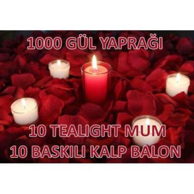 Gül Yaprakları 1000 Ad - 10 Mum - 10 Kalp Balon