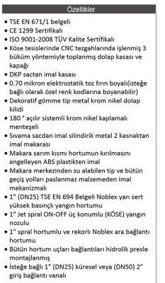 """KÖSE SIVA ÜSTÜ METAL KAPAKLI 1"""" 20 M HORTUMLU YANGIN DOLABI"""