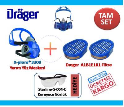 ADR Seti İçin DRAGER X-PLORE 3300 YARIM YÜZ MASKE + FİTRE HEDYEL