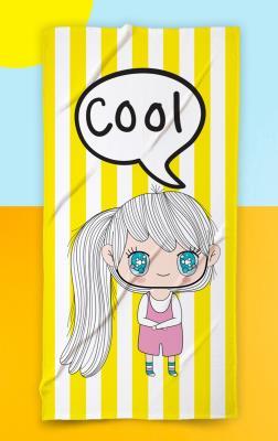 Çocuk Cute Girl  Plaj Havlusu Sarı Beyaz