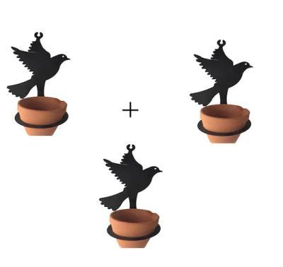 3 ADET Saksısıyla Beraber Metal Kuş Şeklinde Çiçeklik Askı