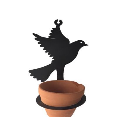 Saksısıyla Beraber Metal Kuş Şeklinde Çiçeklik Askı