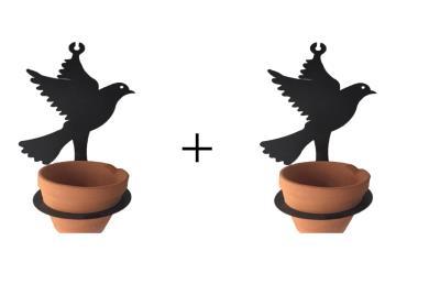 2 ADET Saksısıyla Beraber Metal Kuş Şeklinde Çiçeklik Askı
