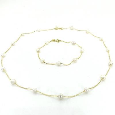 Altın Renk İnci Dizili Gümüş Kolye Küpe Bileklik Set Takım