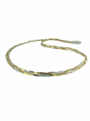 Üç Renk Yassı İtalyan Kleopatra Efsane 925 Gümüş Kolye
