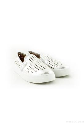 Gümüş Lazer Kesim Bayan Günlük Ayakkabı