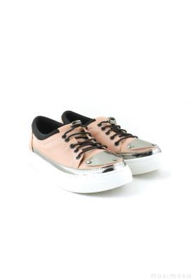 Krem Renk Zımba Detaylı Bayan Günlük Ayakkabı