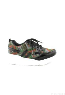 Haki Kilim Desenli Cilt Bayan Spor Ayakkabı