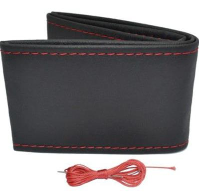 Dikme Direksiyon kılıfı Soft Siyah Deri kırmızı ip