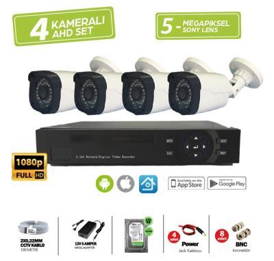 4 Kameralı 5 mp Lens Güvenlik Kamera Seti 1080p Harddis Dahil