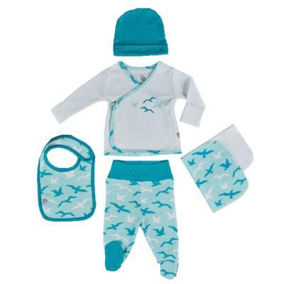 Ecocotton Organik Pamuk 5 Parça Bebek Zıbın Seti - Turna Beyaz-Tu