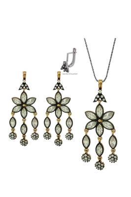 Çiçek Motifli Gümüş Rose İkili Set Takı