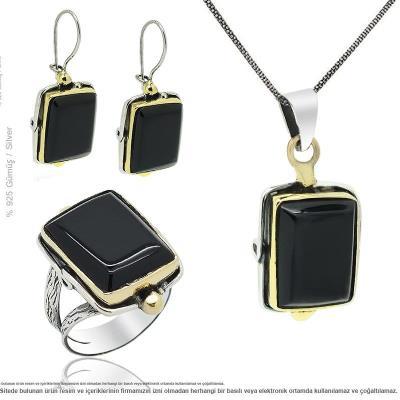 Doğal Erzurum Oltu Taşı İşleme Gümüş Üçlü Set Takı