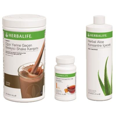 Herbalife Shake Çikolatalı + Bitkisel Çay Şeftali 50gr + Aloe