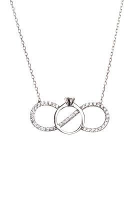 Kadın Gümüş Sonsuz Aşk Kolyesi DBSK2299