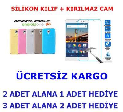 GENERAL MOBİLE 4G ANDROID ONE KIRILMAZ CAM + SİLİKON KILIF
